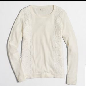 J. Crew crew neck sweater with lace ivory